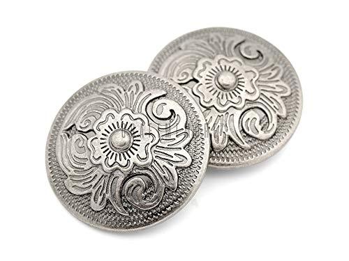 CRAFTMEmore 2 pcs 1-1/4' Antique Silver Navajo Vintage Screw Back Conchos Cowboy Western Texas Leathercraft Embellishment Buttons CHS82 (Antique Nickel)
