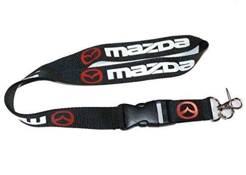"Mazda Black Car Accessory Fabric Lanyard Neck Strap Detachable Clip Black Stripe Wide 1"" for Car Key ID Card Mobile Phone Badge Holder"