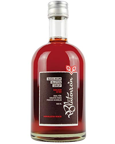 Blütenrein Basilikumblütensirup für Schorlen, Limonaden und alkoholische Mixgetränke, weltweit einzigartig, vegan und rot (1x 500ml)