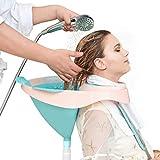 Shampoo Basin Foldable Hair Shampoo and Rinse Tray Mobile Hair Wash Bowl with Drain Tube P...