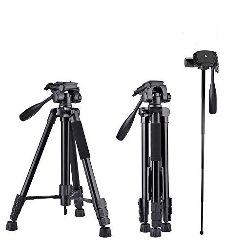 160cm Trípode Cámara, 5 en 1 Aluminio Trípode para Cámara Ajustable 4 Secciones Patas con Rótula de Bola 360 Grados, Universal para Canon Nikon Sony y Teléfono