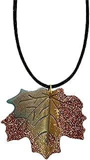 AGA Glitter Detail Leaf Shaped Handmade Resin Pendant Necklace - Brown