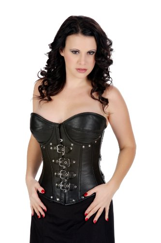Big Sale Black Victorian Vintage Leather Fetish Goth Overbust Corset Waist Cincher Bustier (36)