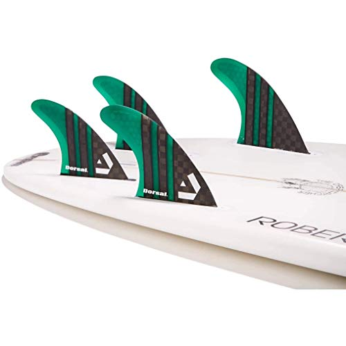 DORSAL Carbon Hexcore Quad Surfboard Fins (4) Honeycomb FUT Base Green