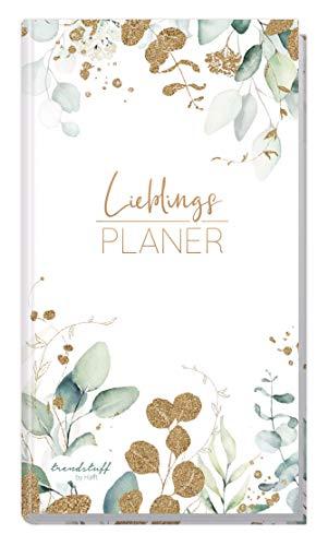 Trendstuff Lieblingsplaner - Wochenplaner Notizbuch A6 liniert [Blattgold] mit 124 Seiten | 1 Woche auf 2 Seiten | Mini Notizkalender, Taschenkalender ohne festes Datum