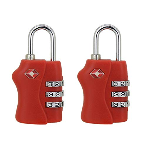 HSDCK 2pcs TSA Aprobado Viaje cerraduras de Equipaje - 3 Dial combinación del candado de Seguridad para el hogar, Maletas, Bolsas, Gimnasio taquillas, Caso,Rojo