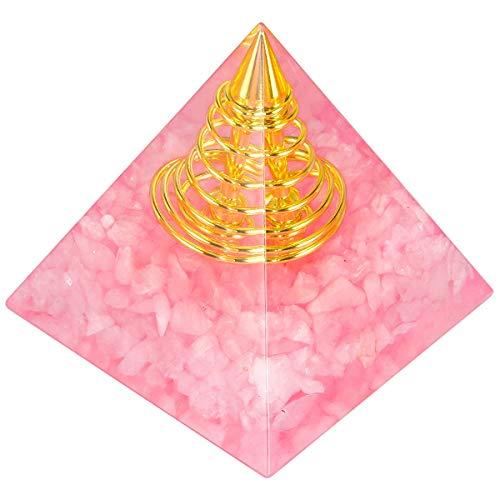mookaitedecor Rosenquarz Heilkristall Quarz Pyramide, Positive Energiepyramide für EMF Schutz Meditation/Yoga/Heilung Chakra/Wohnkultur 50mm