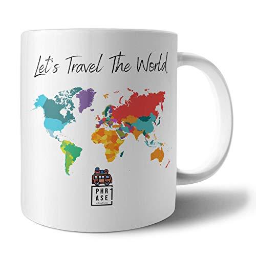 PHRASE 1 by FotoPremio Tasse mit Spruch - Lets travel The World | Kaffeetasse beidseitig Bedruckt | Tasse mit Motiv Camping | Geschenkidee für Camper und Camperinnen