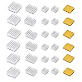 30 PCS Raspberry Pi 4 Heatsink Kit with Thermal Conductive Adhesive Tape, Aluminum Heat Sink Cooler and Copper Heatsink for Raspberry Pi B B+ 2/3/4