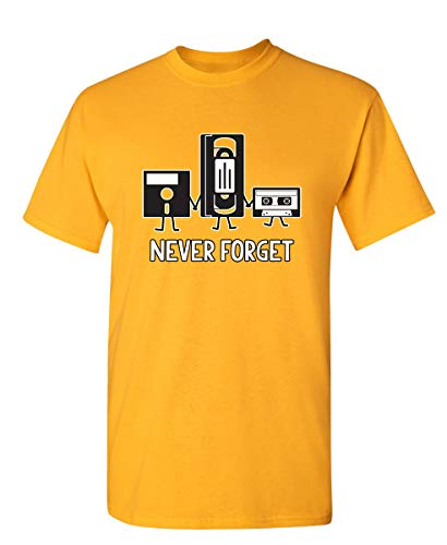 Never Forget Graphic Novelty Sarcastic Funny T Shirt L Gold