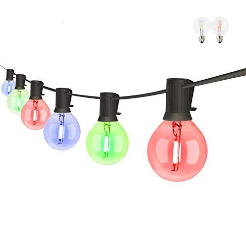 PDGROW Lichterkette Innen/Außen G40 RGB Lichterketten 18FT Wasserdichte Lichterkette Beleuchtung 10 Birnen mit 2 Ersatzbirnen Dekoration für Garten, Party, Hochzeit, Weihnachten