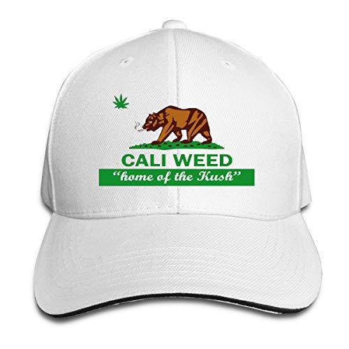 Hombres Mujeres Cali Weed California Republic Bandera Moda Golf Gorra De Béisbol Ajustable Snapback Papá Trucker Sombrero Blanco