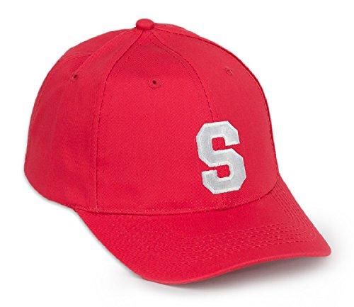 Berretto da baseball in cotone rosso con lettera dell'alfabeto a scelta, cappellino con visiera in stile casual S Taglia unica