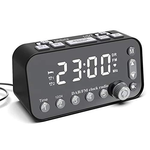 Reloj Despertador, Radio FM Dab con Pantalla LED y interfaces USB Dual WAHE UP Sound Opcional Y Snooze Reloj DE ALARMO