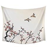 Pintura de tinta de estilo chino ciruela pájaro decoración de la pared tapiz colcha arte de la pared ropa de cama cortina manta sábana toalla 150x200cm/59*79pulgadas