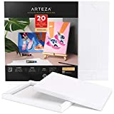Arteza Mixed Media Paper Foldable Canvas Pad, 8x11 Inches, 20 Sheets, DIY Frame, Heavyweight Multimedia Paper, 228 lb, 370 GSM, Acid-Free, Art Supplies for Painting & Mixed Media Art