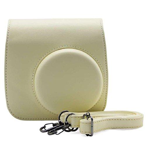 Vovotrade® PU pelle fotocamera borsa caso per Fujifilm Instax Mini8 Mini8s (Beige)
