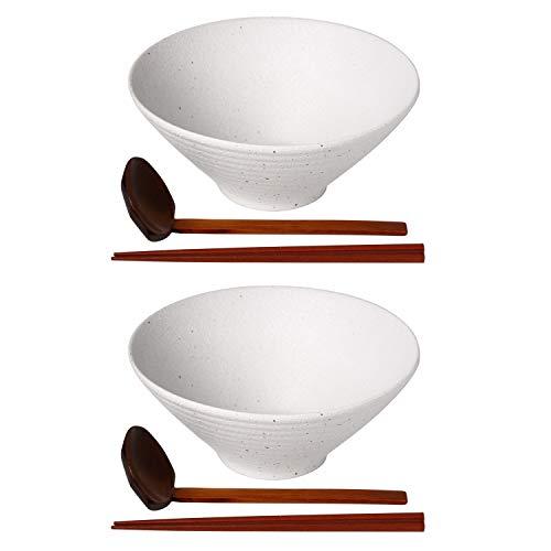 Kanwone Japanische Ramenschalen-Set, Suppenteller – 1050 ml, mit passenden Löffeln und Essstäbchen für Udon Soba Pho asiatische Nudeln, Weiß, 2 Stück