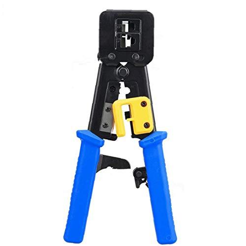 DierCosy Tools Rueda de trinquete Herramienta Que Prensa RJ45 / 6P8P A través de la Herramienta de Mano Red Blue Hole Abrazadera de Cable CAT5 Cat5e Cat6