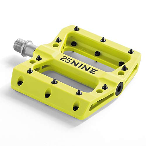 25NINE Bushido BMX Platform Pedals - Durable Thermoplastic Bike Pedals for BMX and MTB - Yellow