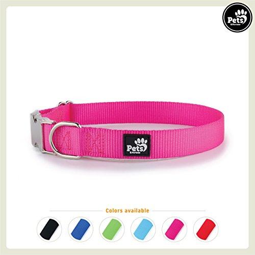 Pets&Partner® Hundehalsband aus Nylon, Halsband mit Metallschnalle in verschiedenen Farben für große und kleine Hunde, XS, Pink