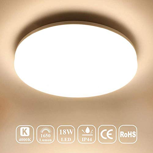 Öuesen Lámpara de techo LED, plafon led de techo superficie,1650 lúmenes, Color Blanco frío, 4000K,18W equivalente a 100W,IP44 resistente al agua, para cuarto de baño Balcón Piso Cocina Salón