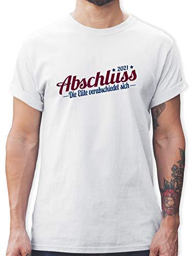 Abi & Abschluss - Abschluss 2021 Die Elite verabschiedet Sich - L - Weiß - mittlere reife Tshirt - L190 - Tshirt Herren und Männer T-Shirts