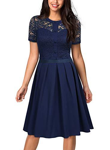 MIUSOL Damen Cocktailkleid 1950er Spitzen Abendkleid Schwingen Rockabilly Pinup Kleid Navy Blau M