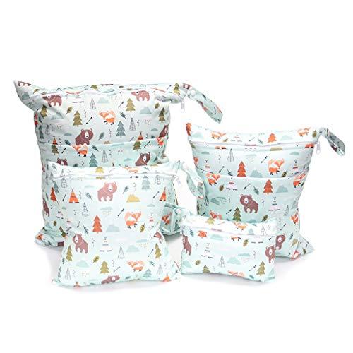 Incdnn Bolsas de almacenamiento de pañales reutilizables lavables de viaje de tela para pañales de tela para pañales, accesorios impermeables y húmedos y secos