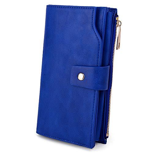 UTO - Mujer Cartera de Bloqueo de RFID PU Cuero Monedero Largo 21 Ranuras para Tarjetas Monedero Gran Capacidad Bolsillo para Móvil Azul_