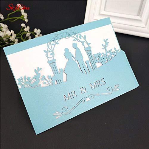 10 / 30PCS Inviti per matrimonio Inviti per feste di Halloween Biglietti per taglio laser Biglietti per inviti aziendali Decorazione per feste 12X18cm 6z, blu, 10 pezzi