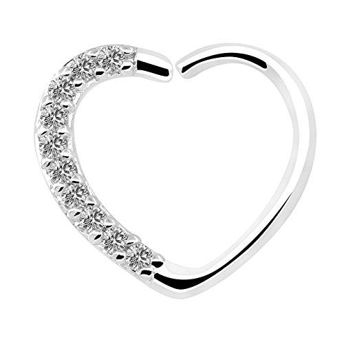 OUFER Body Jewelry 16 Gauge 18Kt Oro Blanco Chapado Claro CZ En Forma de corazón Cierre Derecho Daith Cartilage Tragus Pendientes Hoop (White Clear)