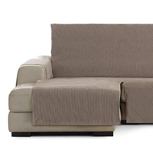 Vipalia Cubre Sofa chaiselongue Ajustable. Funda para Sofa Chaise Longue Brazo Izquierdo Largo. Protector Antimanchas Chenilla. Color Vison. Chaise Largo Izquierda