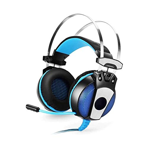 UNU_YAN Stereo Gaming Headset, Le Cuffie Surround Sound in-Ear con Microfono a cancellazione di Rumore, LED Gaming Headset, for Ps4 Xbox One (Color : Blue)