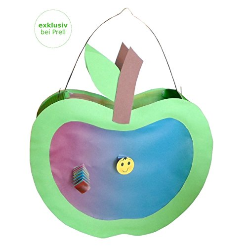 Laternen Bastelset Apfel mit Wurm ca. 25 x 22 cm, 4 Stück