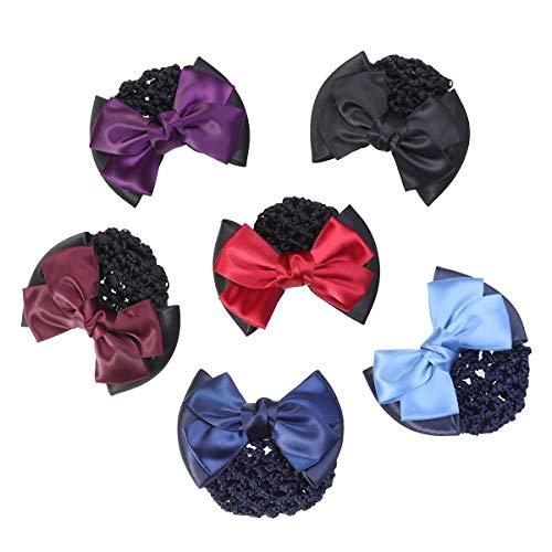 LURROSE Haarspange/Haarspange mit Schleife, 6 Stück, Rot + Blau + Schwarz + Weinrot + Dunkelviolett + Hellblau