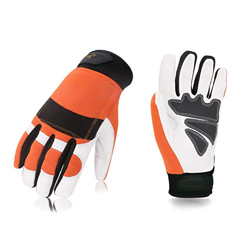 Vgo Chainsaw Protection Gloves Orange Color Size 9/L and 10/XL