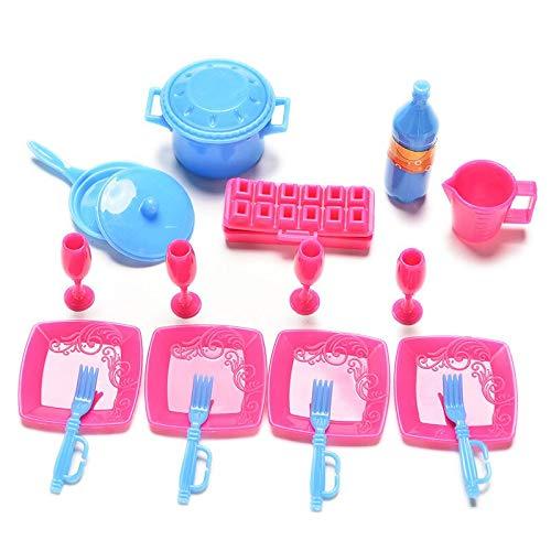 Livedealing - Set di 18 pentole e padelle da Cucina in plastica per Bambole Barbie, Colore Casuale