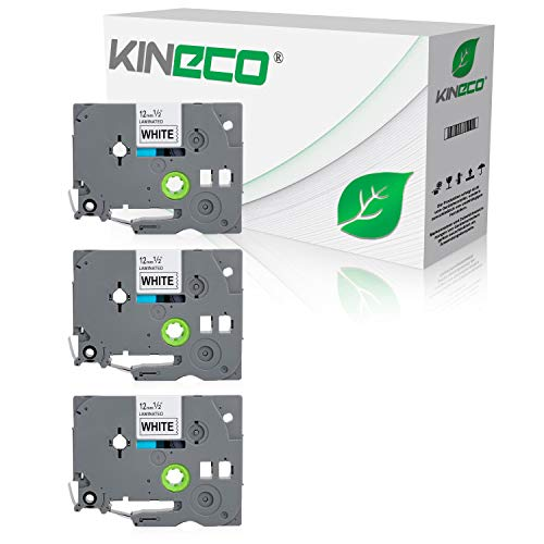 Kineco 3 Schriftbänder kompatibel für Brother TZE-231 12mm/8m - Schwarz auf Weiß P-Touch 1000 1010 1080 1090 1200 1200P 1230PC 1250 1280 1290 1750 1800 1850 200 220 2400 2450 2460 2470 2480 300 310