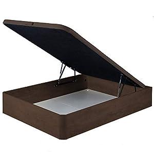 marckonfort Canapé abatible 135X190 de Gran Capacidad con Esquinas Redondeadas en Madera, Base tapizada 3D Transpirable Color Cerezo Oscuro