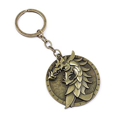 Xssbhsm Llavero El Logotipo Elder Scrolls Llavero del dragón del Grifo águila símbolo de Metal Llavero Colgante de Coches Pilgrim (Color : Champagne)