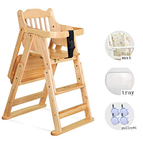 Find Bargain Wood Baby High Chair Booster Toddler Feeding Chair Baby Study Table with Tray Pulley Po...