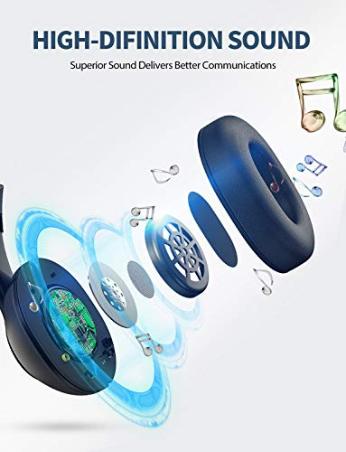 Mpow 3.5mm/USB Headsets, Foldable Computer Headset with Mute Function, PC Headphones with Retractable Microphone No   ise Canceling, All Day Comfort for Meetings/Call Center/School