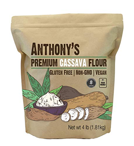 Anthony's Cassava Flour, 4 lb, Batch Tested Gluten Free, Non GMO, Vegan