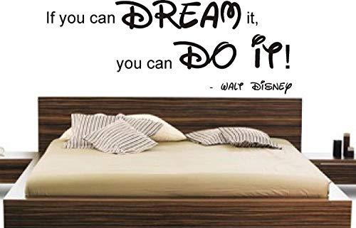 FSSS Ltd Si Vous Pouvez Dream It Vous Can Do It Disney Sticker Mural DIY Home pour Enfant, Vinyle, Turquoise, 90x40cm