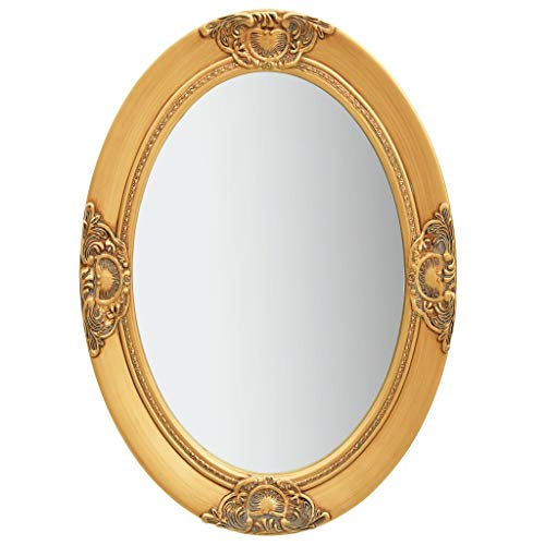 Festnight Specchio da Parete con Cornice Stile Barocco Specchio da Bagno Ovale in Legno e Vetro 50x60 cm/50x70 cm Argento/Bianco/Nero/Oro