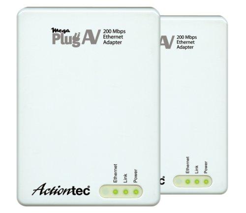 Actiontec MegaPlug A/V 200 Mbps Powerline Network Adapter Kit (White)