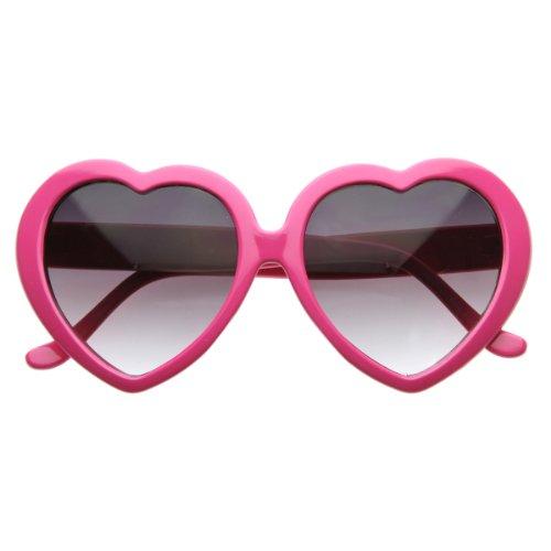 Large Oversized Womens Heart Shaped Sunglasses Cute Love Fashion Eyewear (Hot Pink)