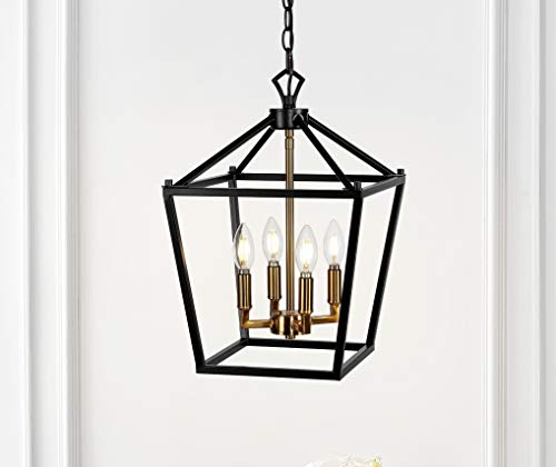 JONATHAN Y JYL7436D Pagoda Lantern Metal LED Pendant Classic Dimmable Cozy Warm Light for Kitchen Hallway Bathroom Stairwell, 4 Bulb, Oil Rubbed Bronze