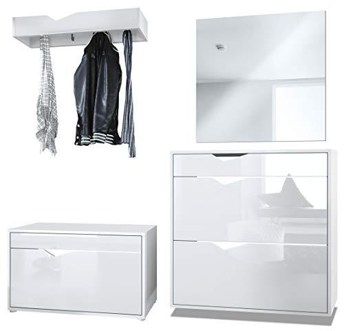 Vladon Garderobe Kolmio 190 x 185 x 33 cm Flurgarderoben Set, Korpus in Weiß Matt, Fronten in Weiß Hochglanz | Große Farbauswahl